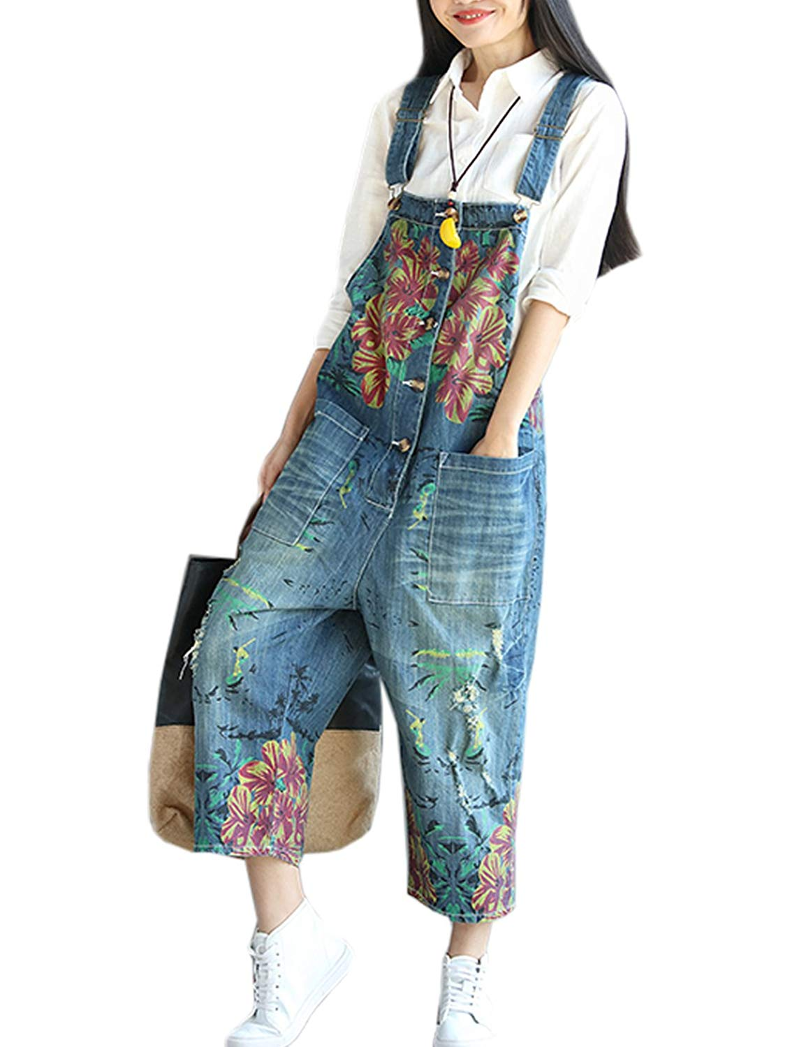 dfe98e814860 Get Quotations · Flygo Women's Loose Floral Printed Distressed Capri Denim  Bib Overalls Jumpsuit Rompers with Pockets
