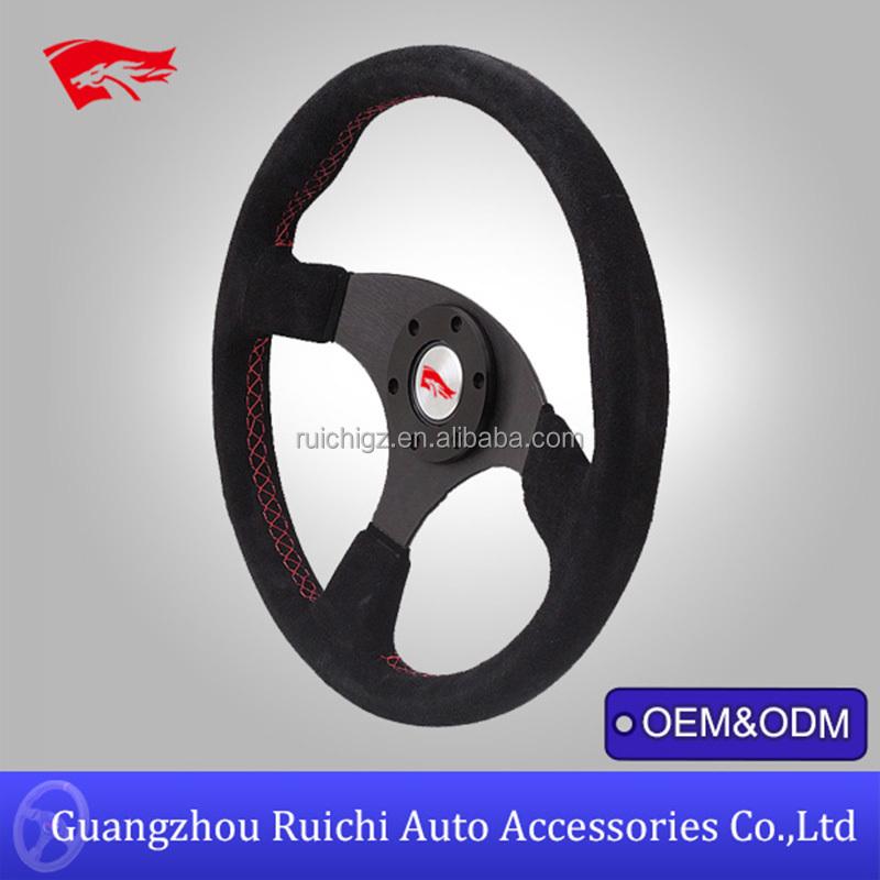 China Supplier 350mm Suede Keys Racing Steering Wheel