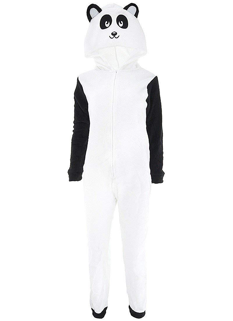 Get Quotations · PJ Coutour Womens  Fleece White Panda Fleece Hooded Pajamas 6a9302d9d