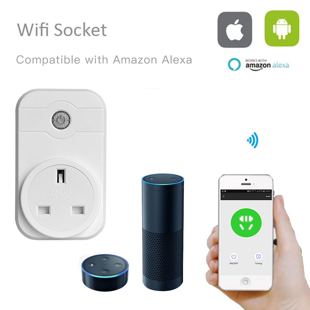 Newest smart home electrical applinces free APP system wifi smart plug outlet alexa for home use