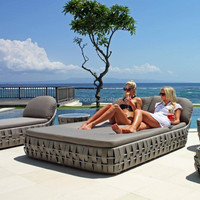 Beach sunbathing wicker bed furniture for 2 outdoor or home casual cheap garden sun loungers