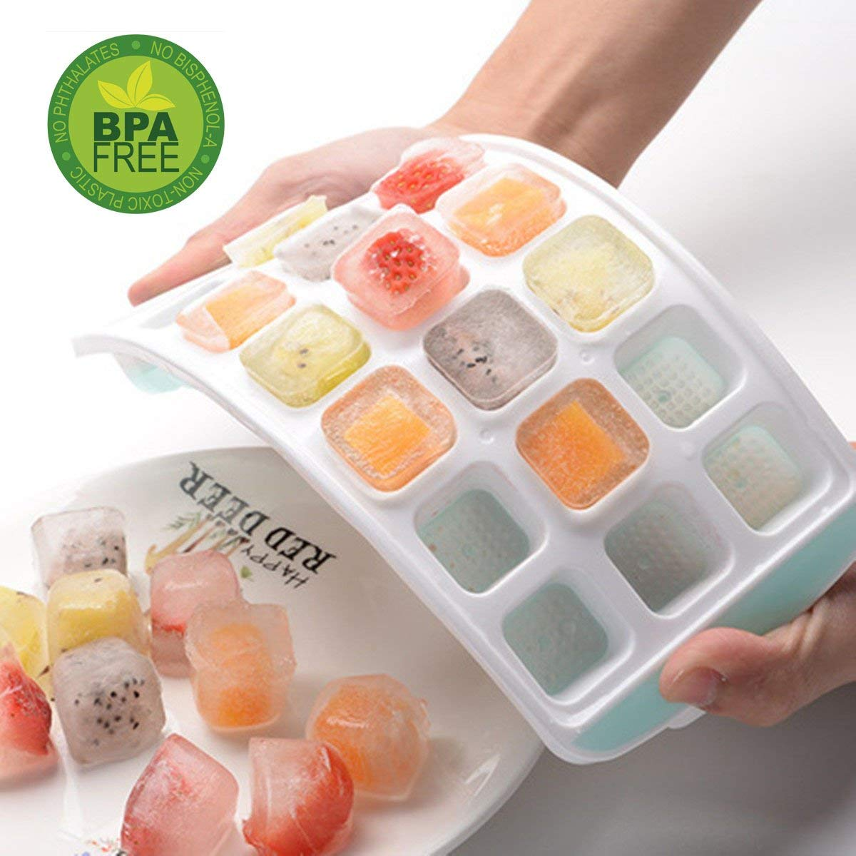 Ice Cube Trays, Ice Tray Easy-Release Silicone and Flexible 21 Ice Trays with Spill-Resistant Removable Lid, LFGB Certified and BPA Free, Stackable Durable and Dishwasher Safe
