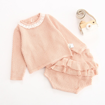 Wholesale 2019 winter long sleeve hand knitted baby clothes with two-pieces