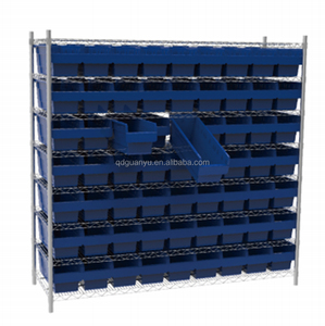 High strength workshop wire shelving unit with plastic storage bins for sale