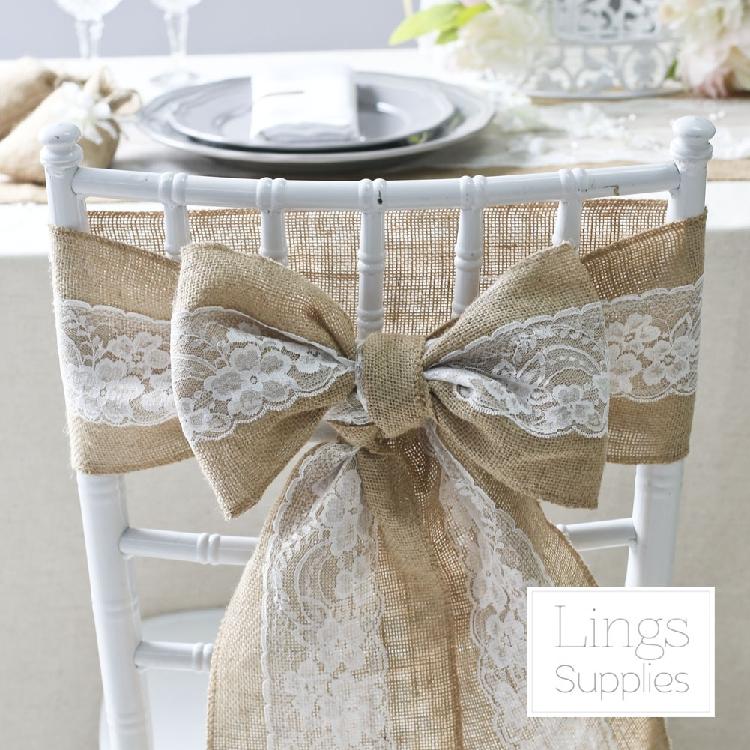 2016 10pcs hessian chair sashes jute burlap lace rustic vintage shabby wedding favor decor in. Black Bedroom Furniture Sets. Home Design Ideas