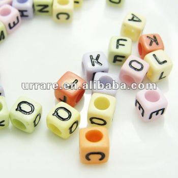 6mm Solid Color Square Shape Acrylic Letter Beads