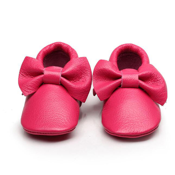 New Fringe And Butterfly Knot Design Soft Sole Leather Baby Moccasins Shoes