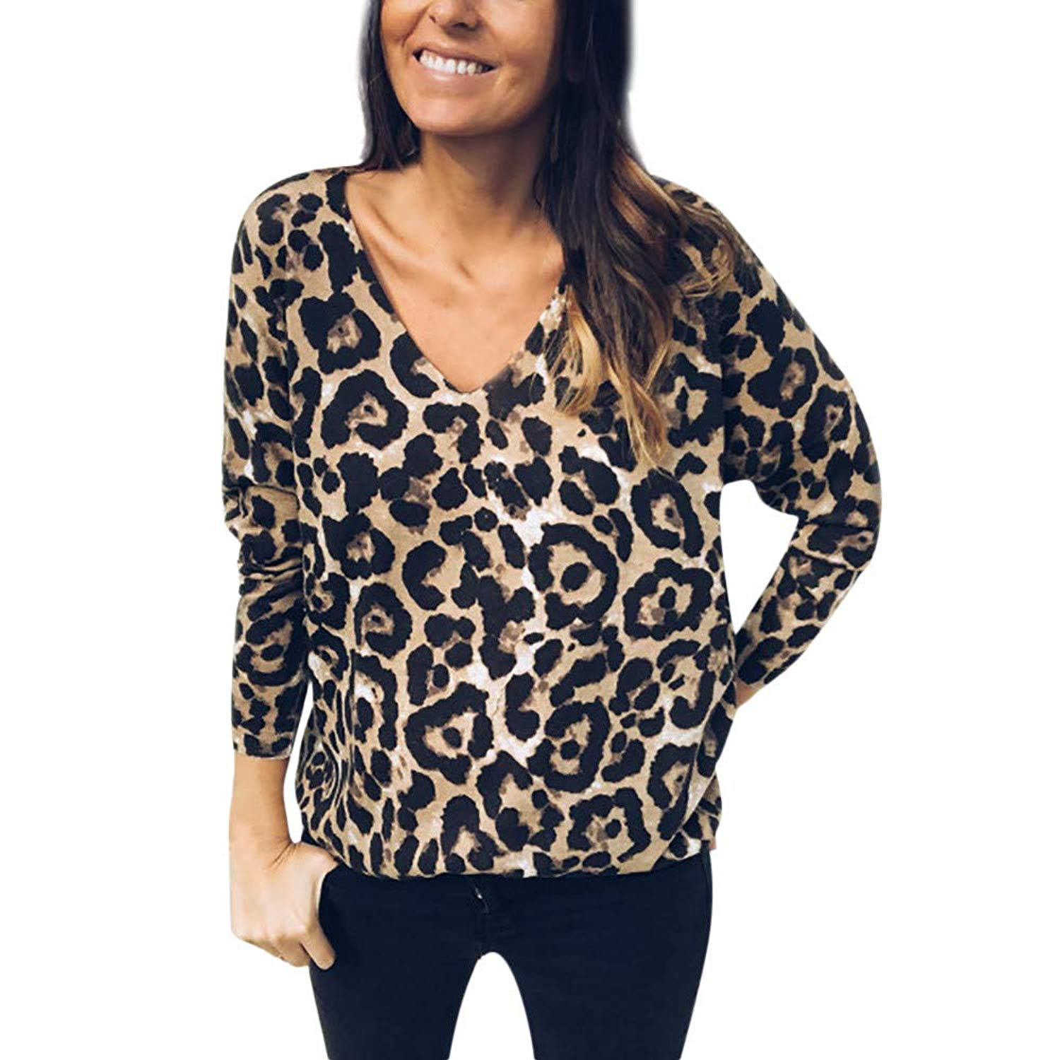 bd299d121e3 Get Quotations · Dressffe Clearance Women Shirts Loose Sexy V Neck Leopard  Print Blouse Casual Pullover Tops