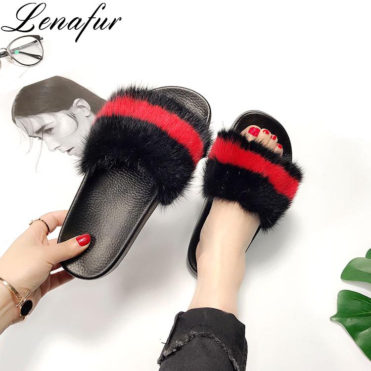 Shoes Summer for Sole Slides EVA Fur Real Slippers Mink Women qTqRUn