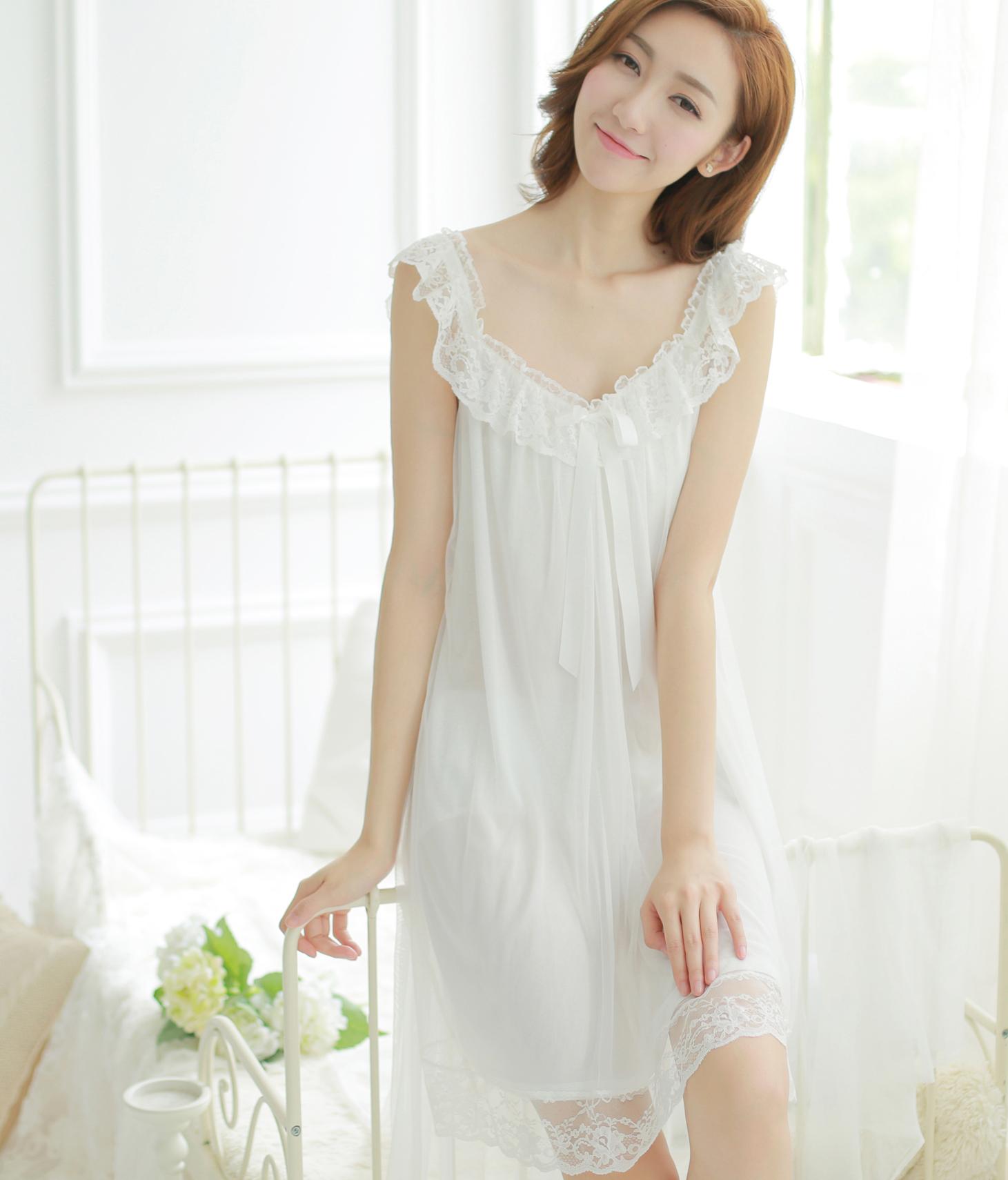 Fresh 2015 summer women viscose soft gauze sexy lace princess nightgown  royal sleepwear beidge short sleeve nightwear 270947a3b