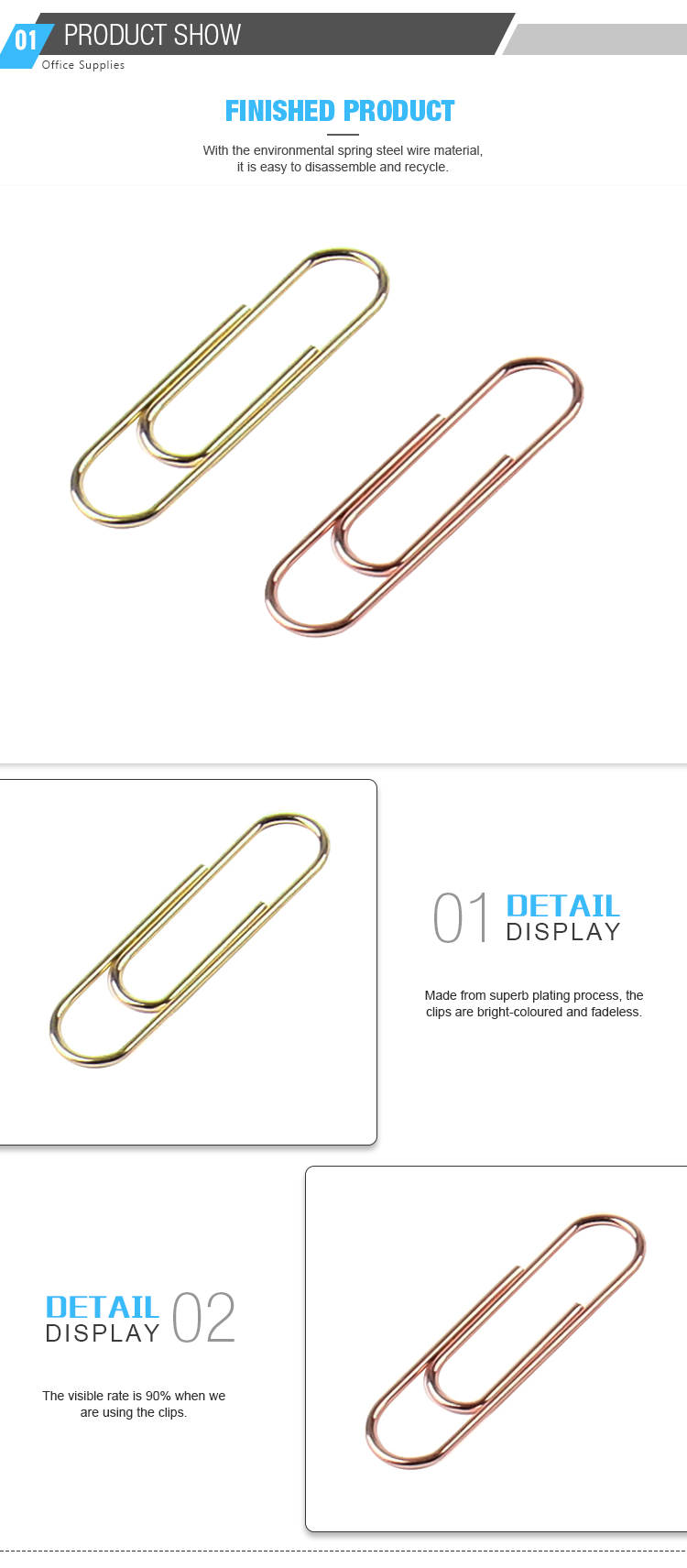 Hot Selling Decorative Stationery Gold Oval Shape Paper Clips For Office