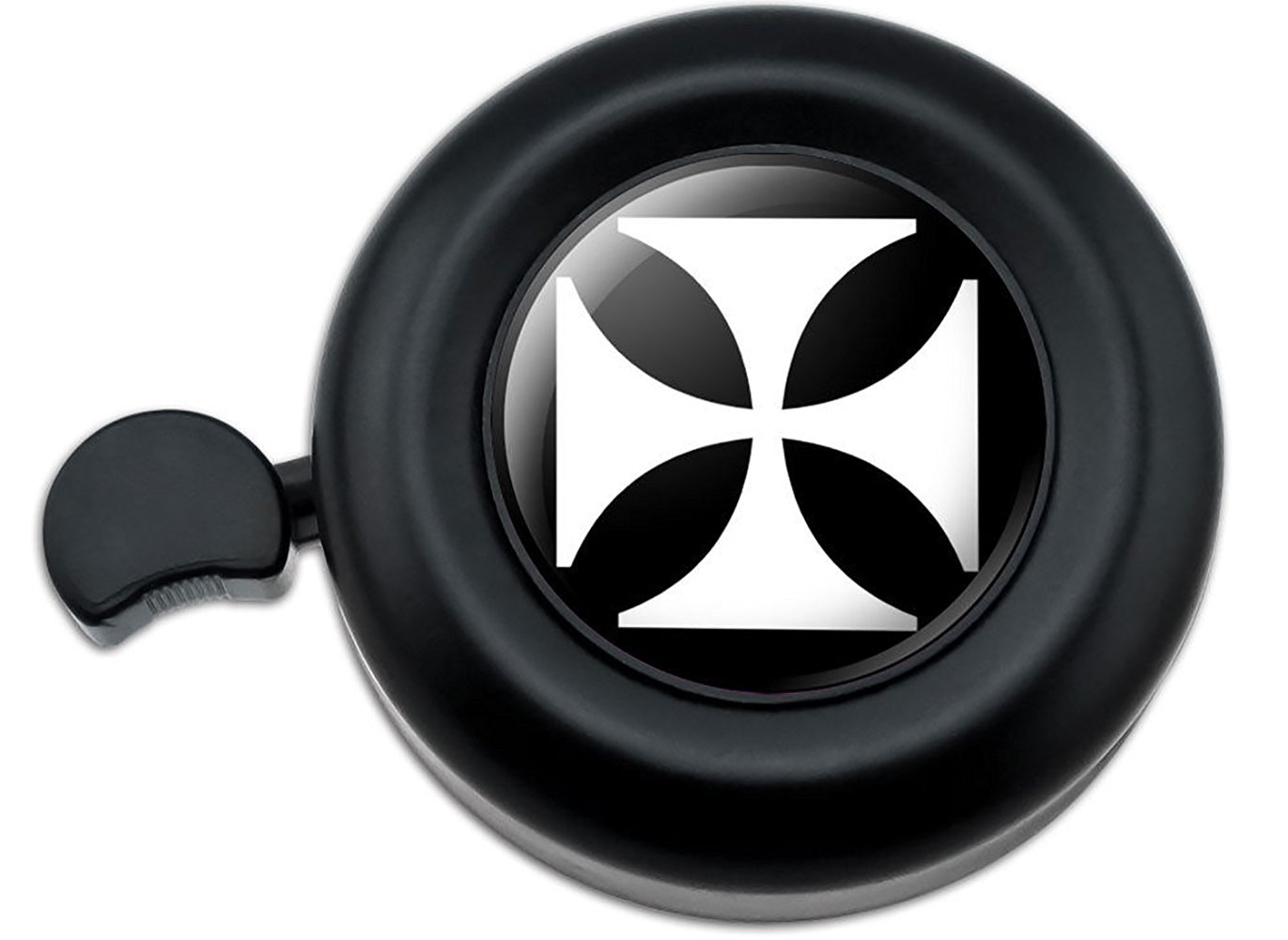 Cool and Custom {Fully Adjustable to Fit Most Bikes} Bicycle Handlebar Bell Made of Hard Metal with Dark Cool Symbolic Powerful Iron Maltese Cross Ancient Design {Black & White Colors}