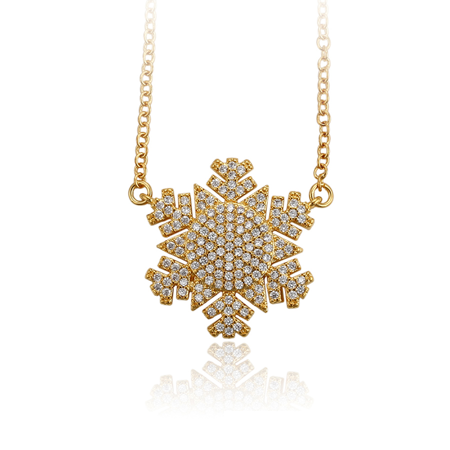 44671 Xuping 24K gold frost zircon necklace for women