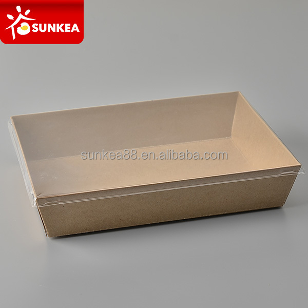 Plastic window disposable take out paper sushi container