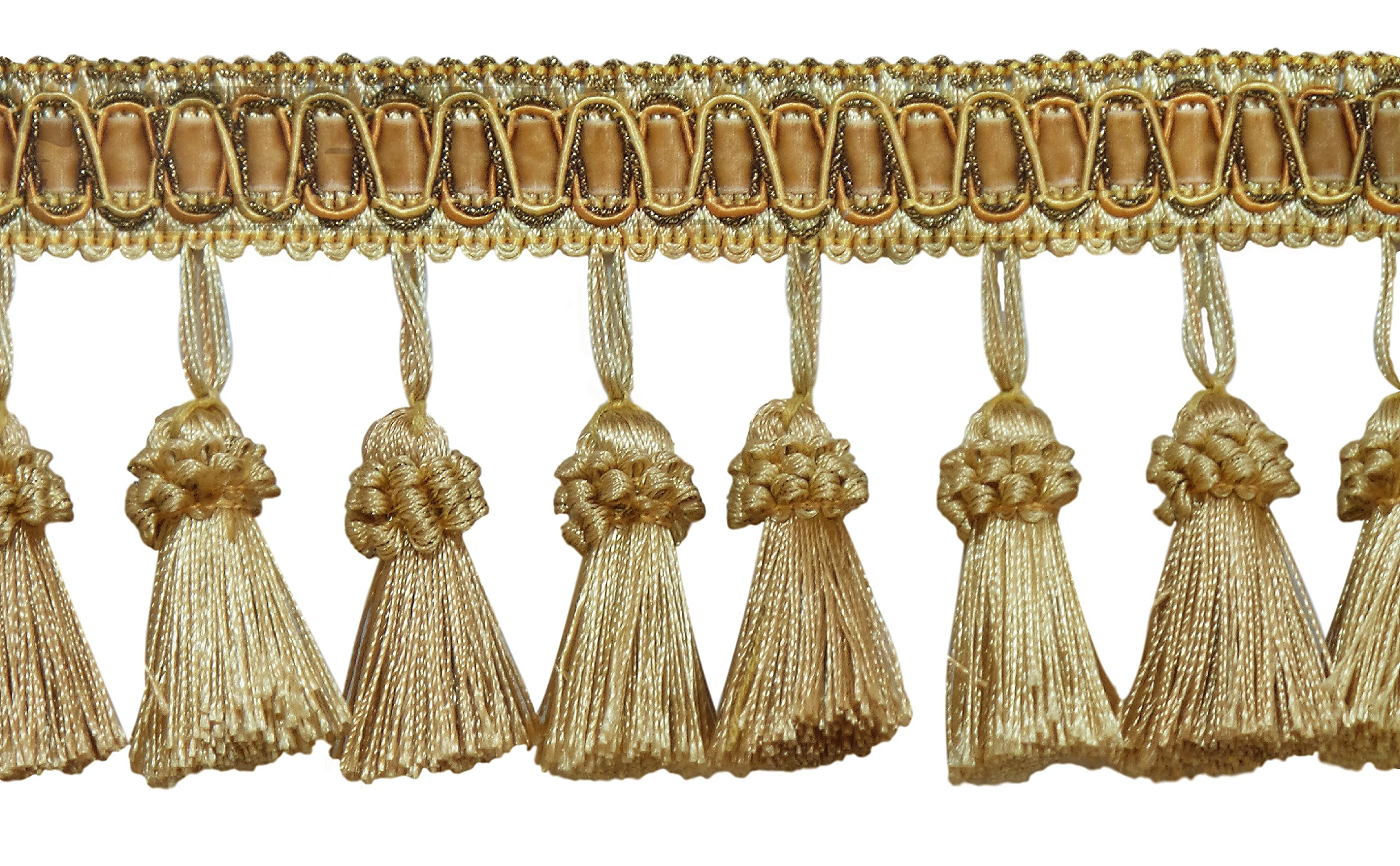 DecoPro Elegant 3 Inch Long Vintage Medium and light Gold Tassel Fringe - Golden Rays 4875 (Sold by The Yard)
