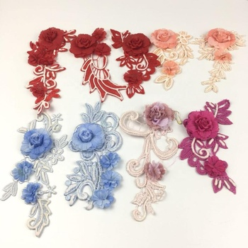 Beautiful 3D puff  flower bead applique embroidery patches baby girl's clothing accessories