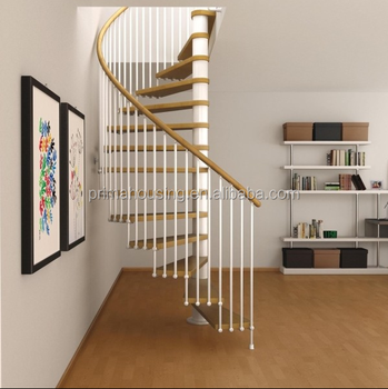Classy Spiral Staircase Solid Wood Step Round Ladder