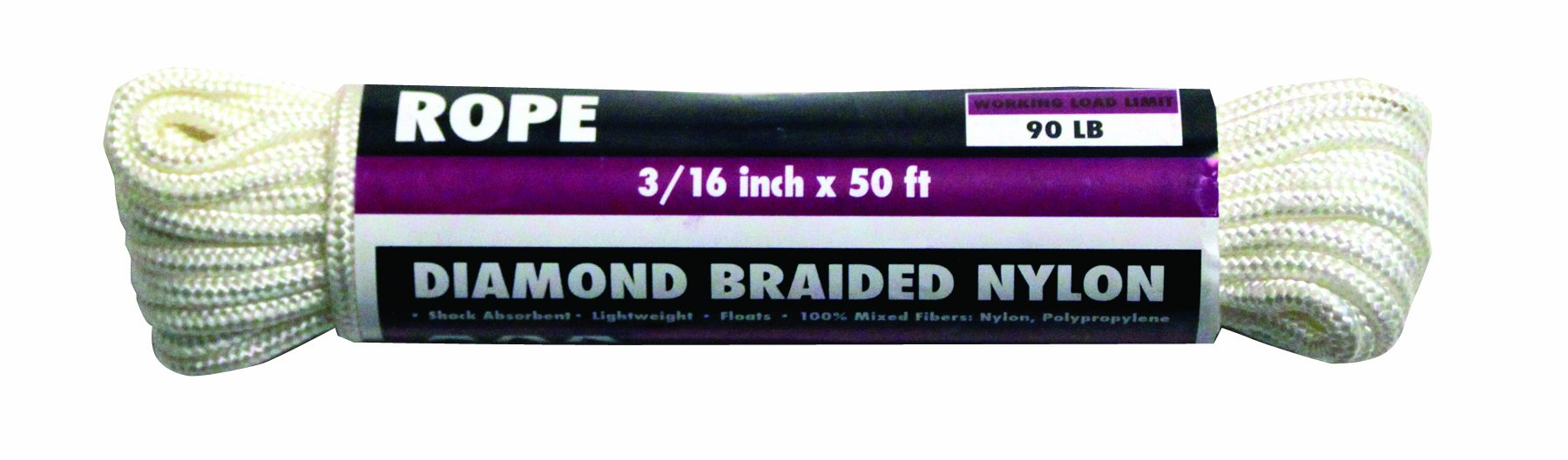 Rope King DBN-31650 Diamond Braided Nylon Rope 3/16 inch x 50 feet