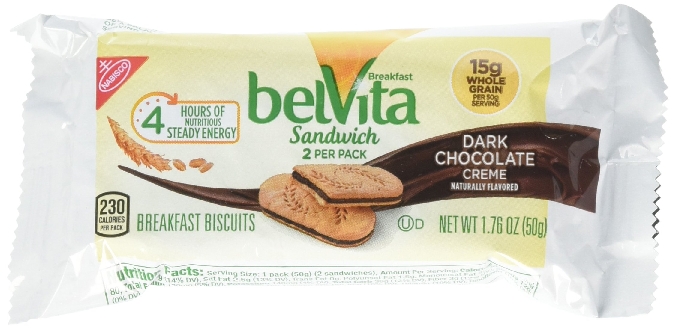 belVita Dark Chocolate Creme Sandwich Breakfast Biscuits, 5 Count Box, 8.8 Ounce (Pack of 6)