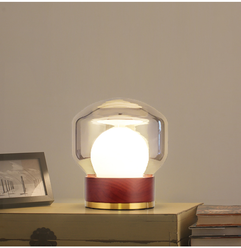 Modern Style Glass Table Lamp Light With Red Wood Base For