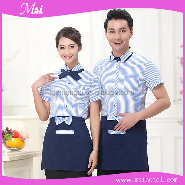 Hotel Restaurant Waiter Summer Workwears Shirts and Blouse and Overalls