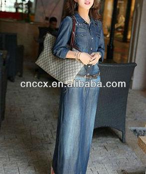 6483e1ec17 13cd1157 Denim Slim Fit Long Sleeve Maxi Dress - Buy Long Sleeve ...