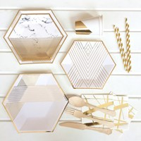 Hot selling Rose gold square disposable tableware paper tray hot Paper party plates for birthday