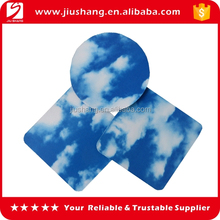 Round heated clear bule sky natural rubber placemat
