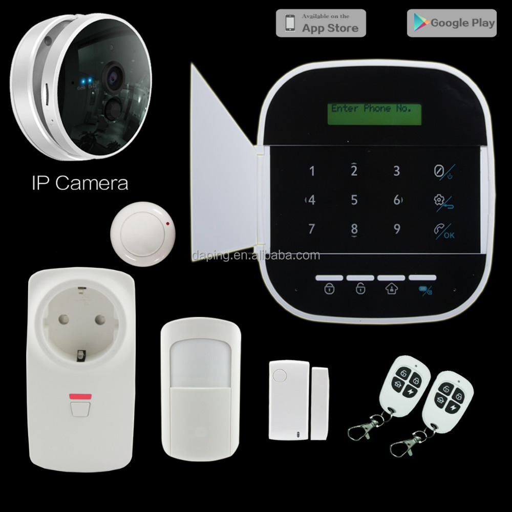 Hot New products for 2016 ! Word menu GSM+WIFI alarm system with IP camera ! GPRS home alarm system with APP+RFID alarm gsm