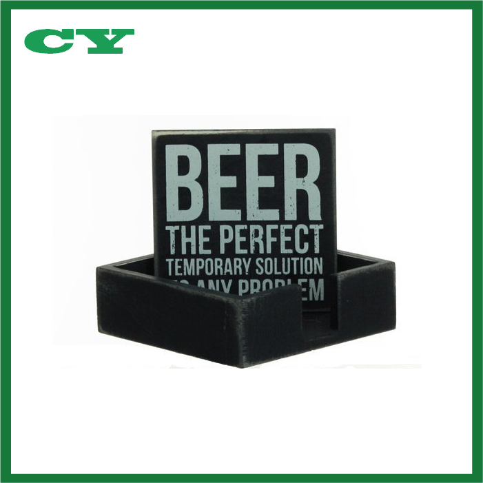 Four Different Beer Themed Wooden Drink Coaster in Wooden Holder