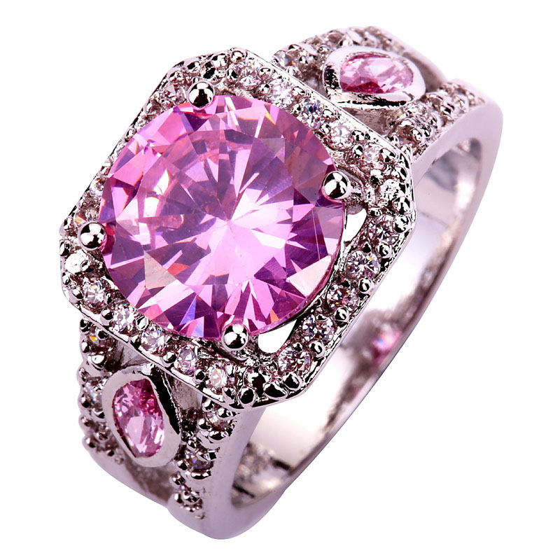 Wholesale Delicate Nobby Round Cut Pink White Sapphire Silver Ring Size 7 8 9 10 Women