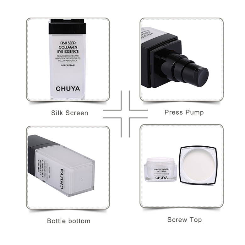 CHUYA double wall square acrylic cosmetic jar luxury cosmetic packaging set 30ml 100ml acrylic bottle with black lid
