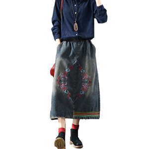 2018 new style retro national style embroidery leisure skinny vintage denim skirt
