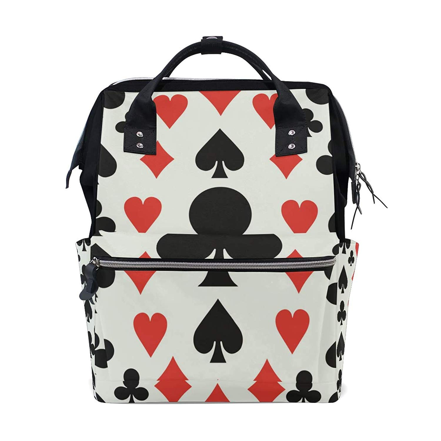 imobaby Cool Poker Cards Pattern Clubs Changing Bags Large Capacity Handbags Canvas Shoulder Bag Backpack