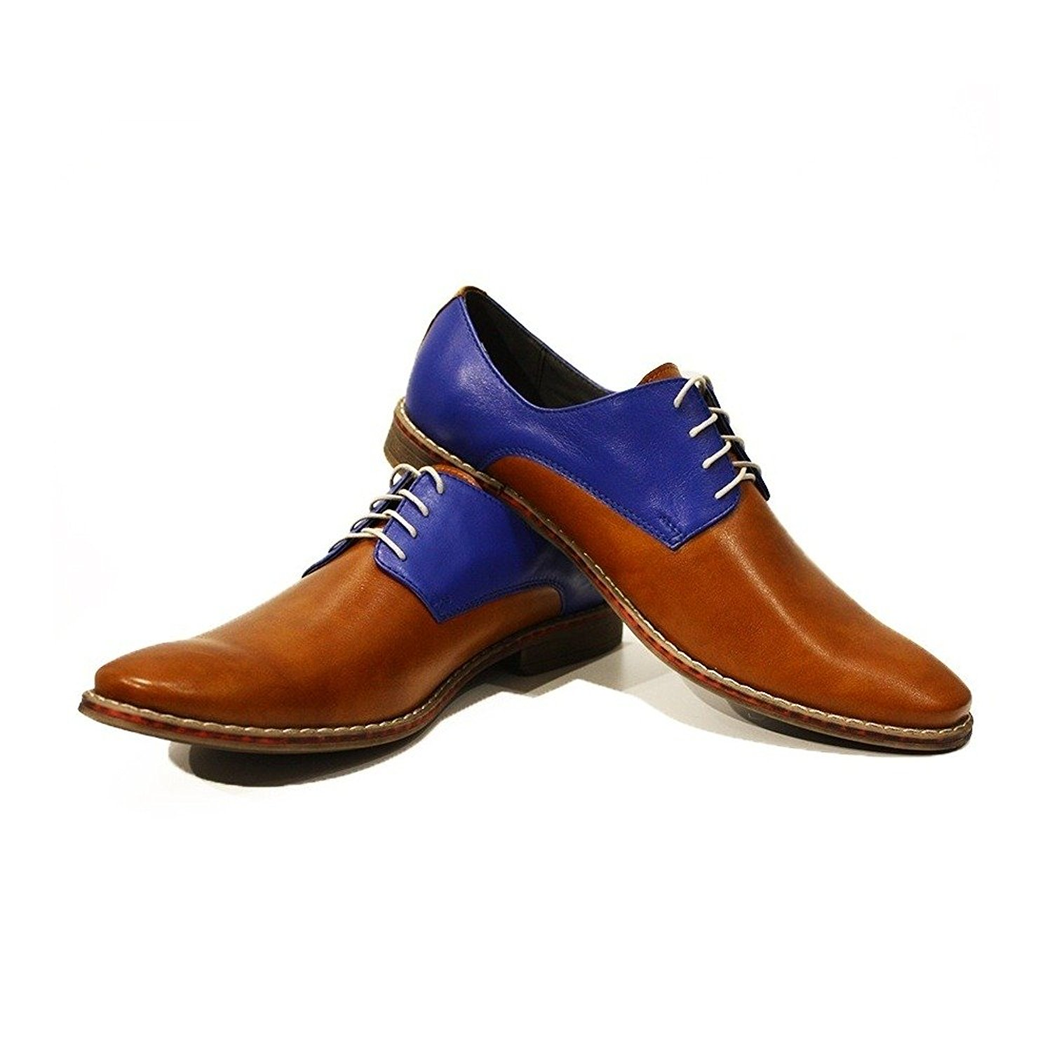 Modello Flavio - Handmade Italian Mens Brown Oxfords Dress Shoes - Cowhide Smooth Leather - Lace-Up
