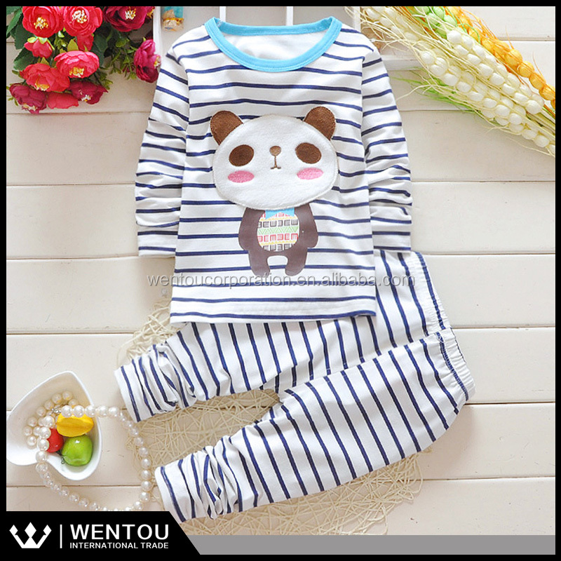 Wholesale Litter Bear Pure Cotton Striped Childrens Pajamas Outfits