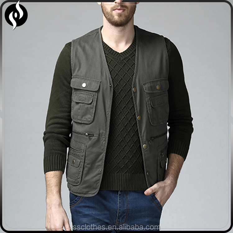2018 Casual clothing Best selling custom mens fashion multi pocket work vest for wholesale