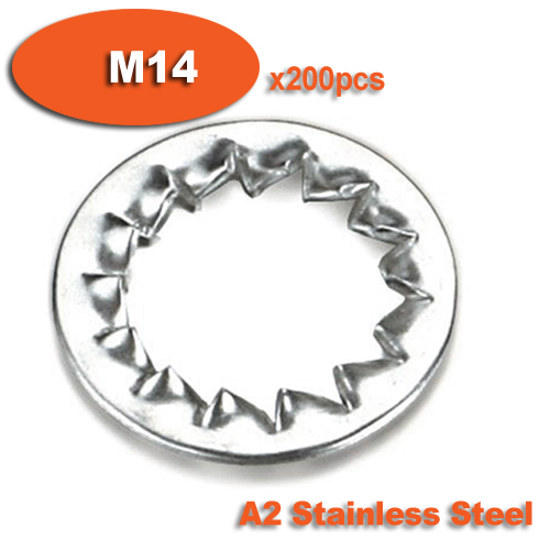 200pcs DIN6798J M14 Stainless Steel A2 Internal Serrated Lock Washers Washer