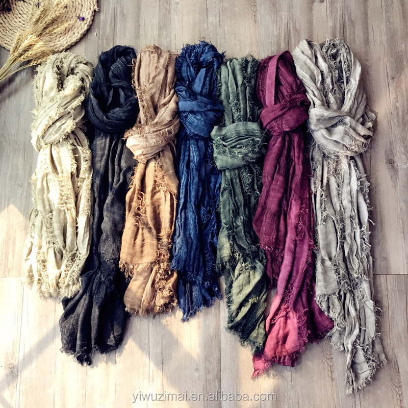 Women Cotton linen Bubble Plain Wrinkle Hijab long Scarf