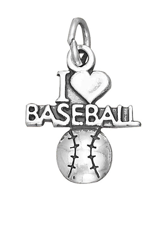 "Sterling Silver ""I LOVE BASEBALL"" Baseball Sports Word Charm"