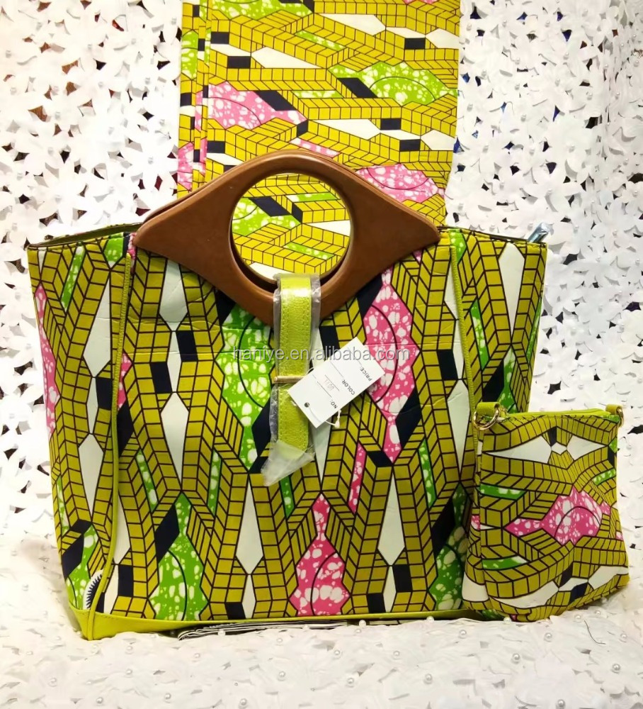 2017 hollandais wax matching bag african wax prints with bag for women YBWB-43