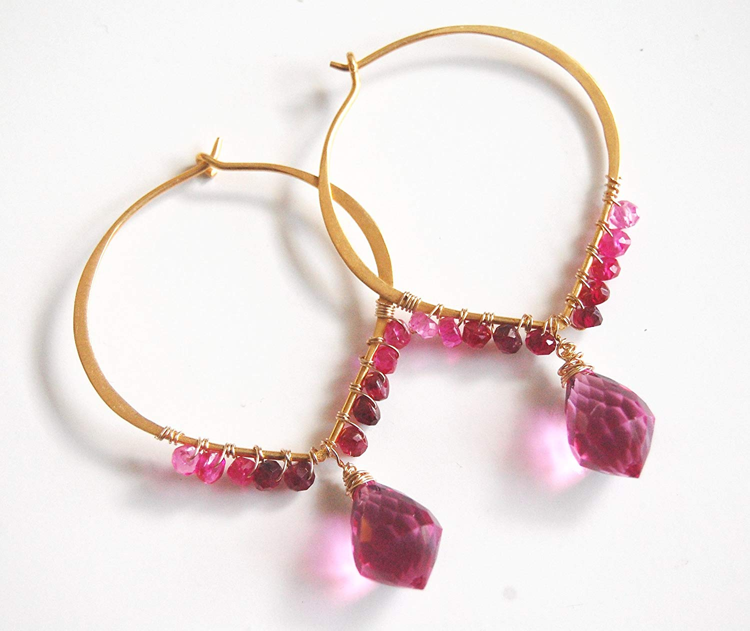 Hot Pink Quartz and Shaded Ruby Hoop Chandelier Earrings-Ruby Hoop Earrings - July Birthstone Hoop Earrings -