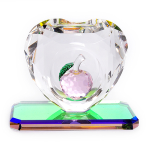 Pink Apple crystal trophy car interior ornaments high-end creative crystal