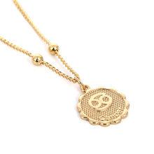Ingemark 12 зодиака созвездие, ожерелье с подвеской простое медное ожерелье Leo бусы ключицы цепи сексуальные ювелирные изделия для пар(Китай)