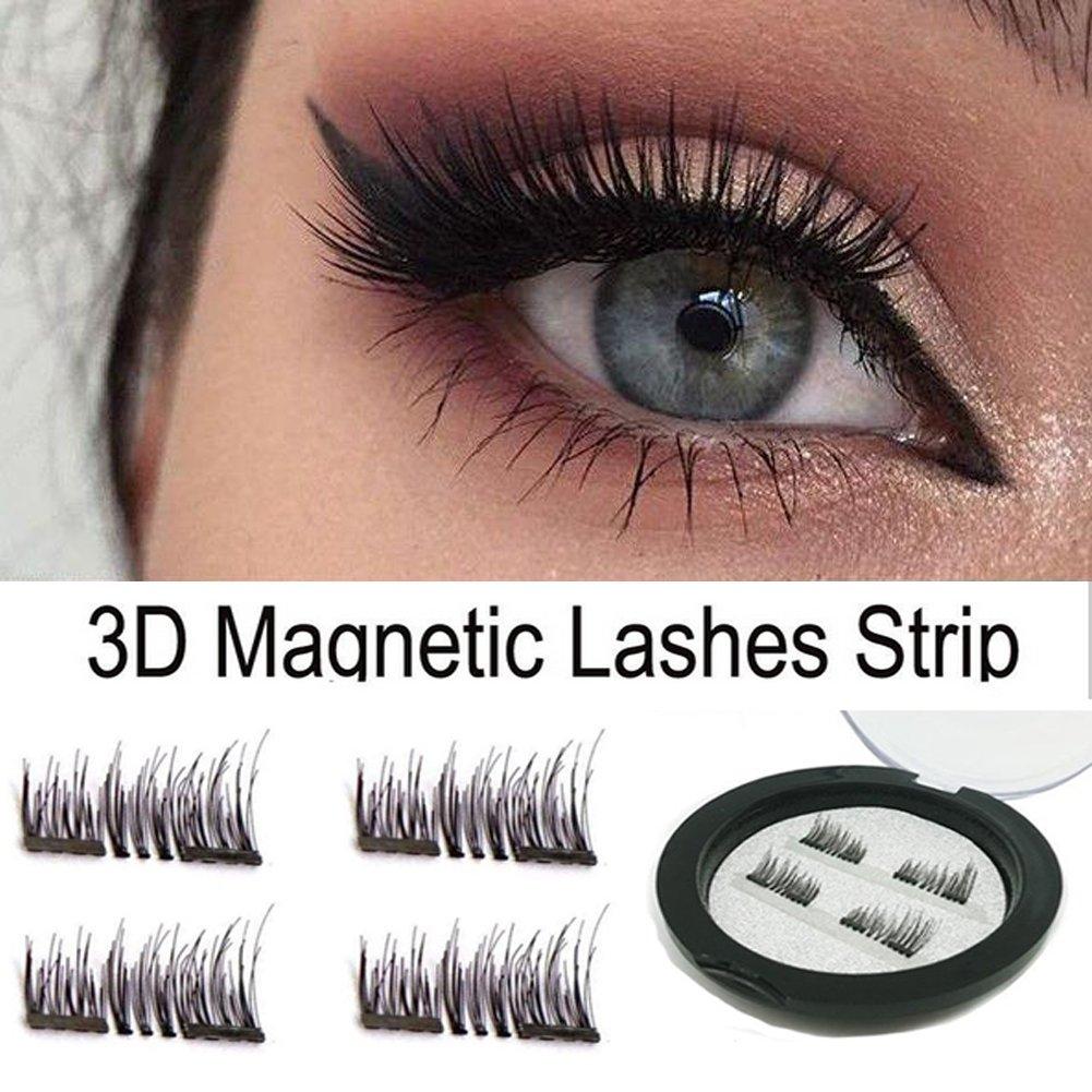 027392b2257 Get Quotations · Dual Magnetic False Eyelashes - No Glue 3D Reusable fashionable  Fake Eyelashes Extension for Beautiful Natural