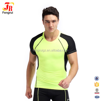 ddfbe998e7 Men Compression Patchwork Gym Tight Fitness Shirts Crossfit Workout T-Shirt  Bodybuilding Shirt Stretch Male