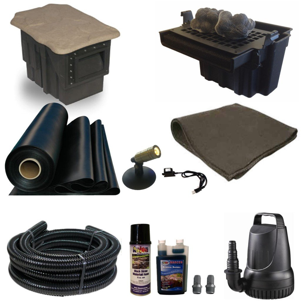 "Half Off Ponds SC0 - Small Combo Pond Kit w/ 15' x 20' LifeGuard Pond Liner, 3,300 GPH Pump, 16"" Waterfall, and Skimmer"