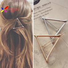 Presentes de prata metal ouro triângulo jóias para mulheres acessórios de cabelo pinzas de pelo