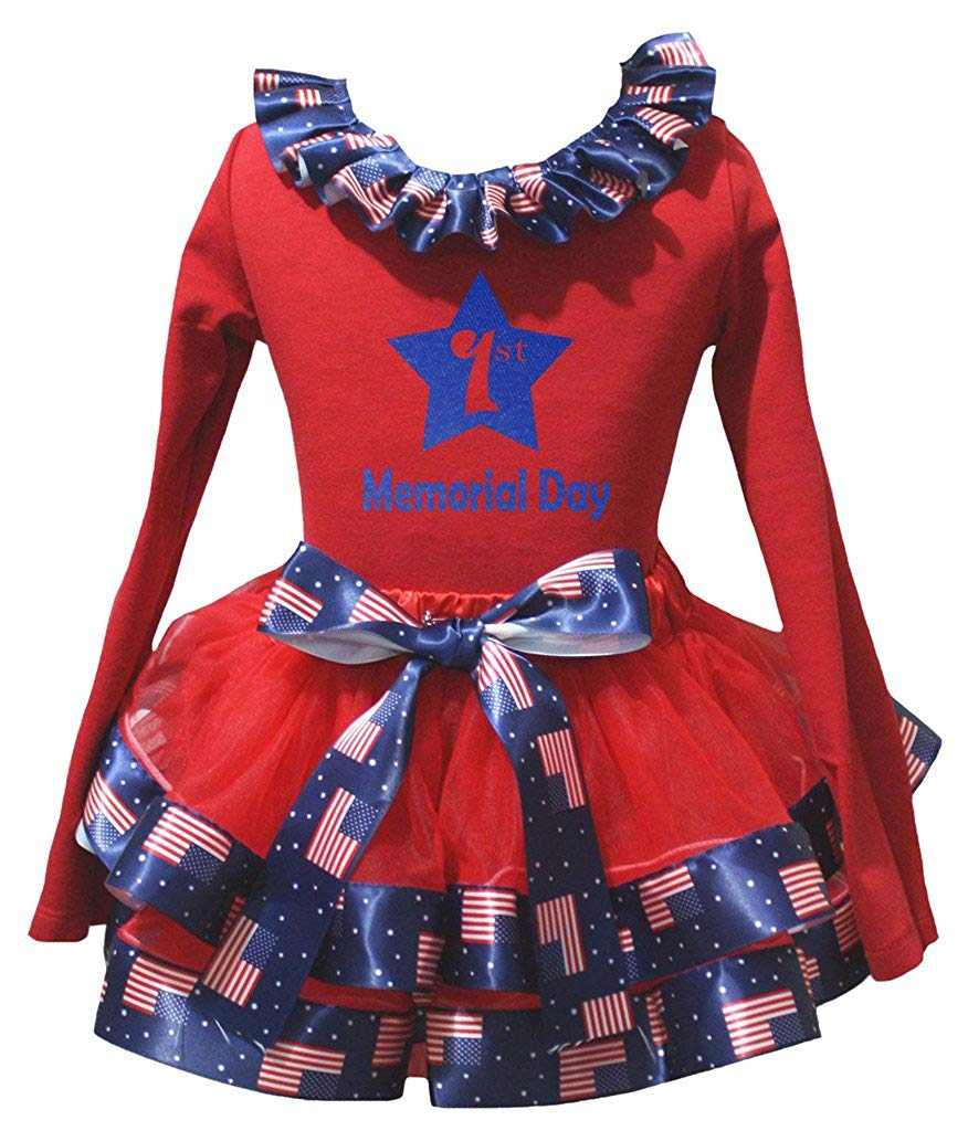 Petitebella My 6th Memorial Day White L//s Shirt US Flag Red Petal Skirt Nb-8y
