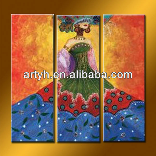 Handmade Indian Woman Painting On Canvas